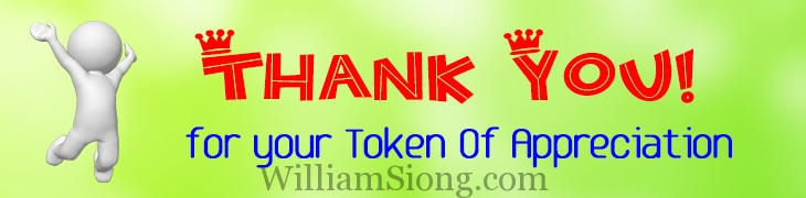 Token Of Appreciation for effort done on William Siong's Blog